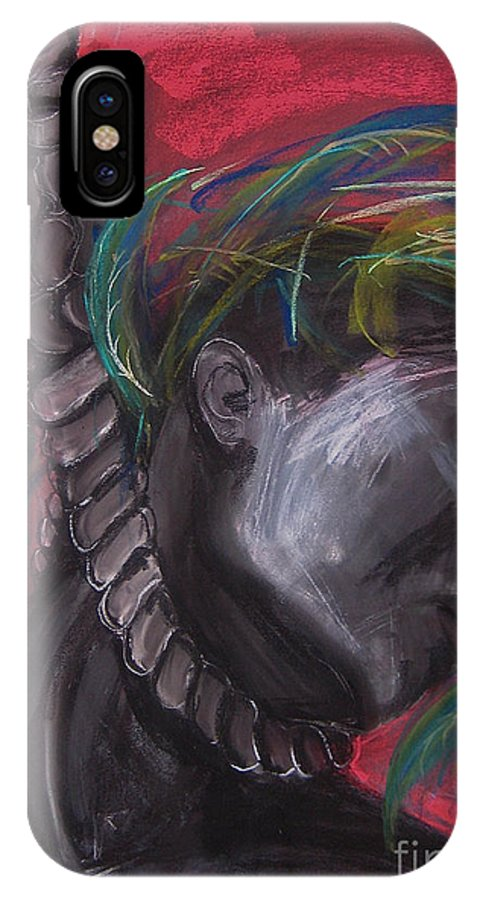 Expressionist IPhone X Case featuring the drawing Stolen Resource by Gabrielle Wilson-Sealy