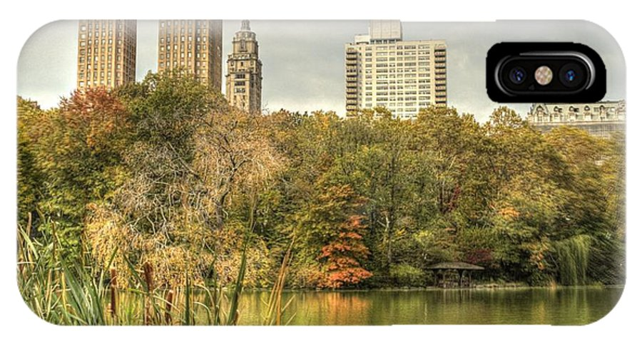 New York IPhone X Case featuring the photograph stone bridge in Central Park by Geraldine Scull
