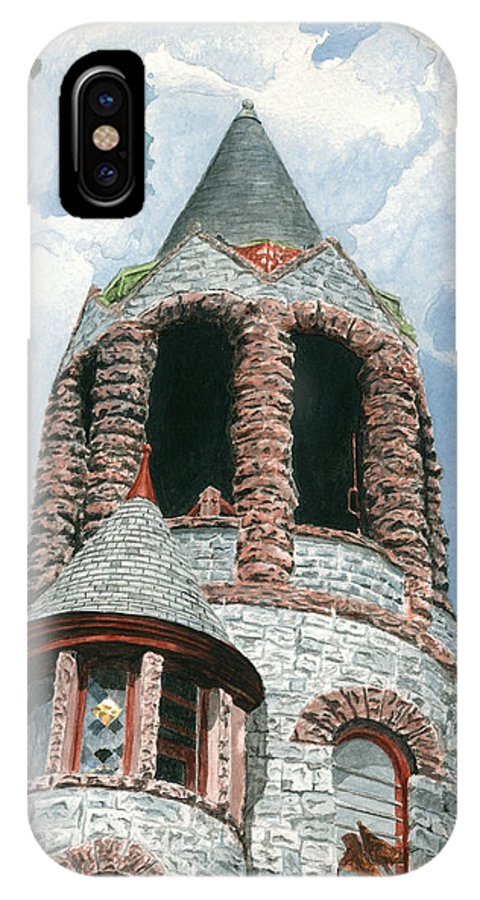 Church IPhone Case featuring the painting Stone Church Bell Tower by Dominic White