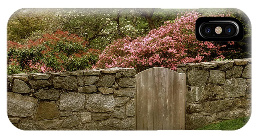 Wooden Gate IPhone X Case featuring the photograph Stone Gate by Jessica Jenney