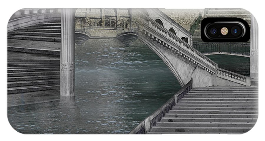Stone Grey Pillar Bridge Sea Pavement Monochrome Surrealism Magic Italy Fantastic Silver Legend Way IPhone X Case featuring the photograph Stone labyrinth by Desislava Draganova