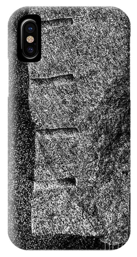 Minimalist IPhone X Case featuring the photograph Stone Mason Scars Monochrome by James Aiken