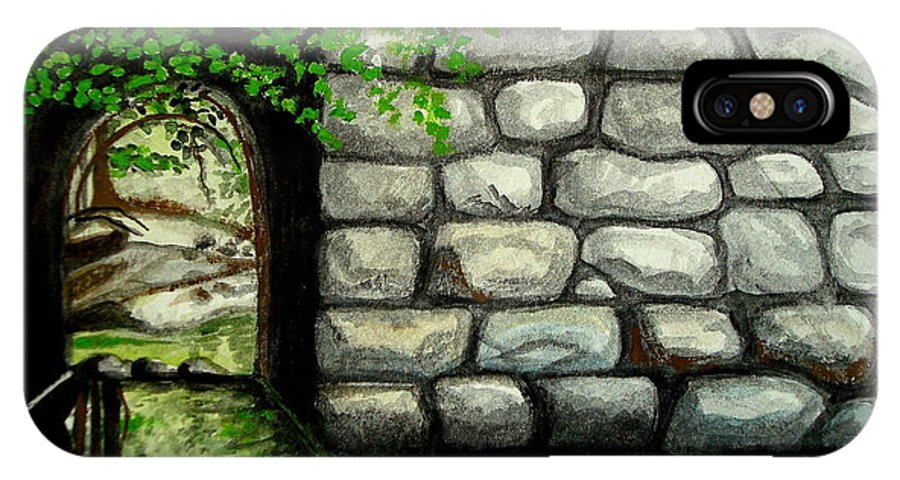 Landscape IPhone X Case featuring the painting Stone Tunnel by Elizabeth Robinette Tyndall