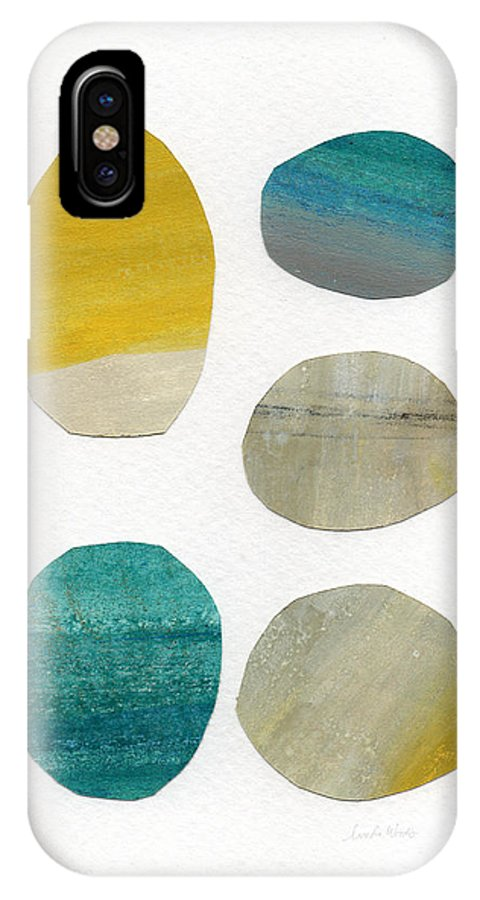 Abstract Art IPhone X Case featuring the mixed media Stones- Abstract Art by Linda Woods