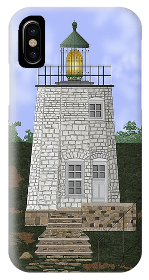 Lighthouse IPhone X Case featuring the painting Stony Point On The Hudson River New York by Anne Norskog