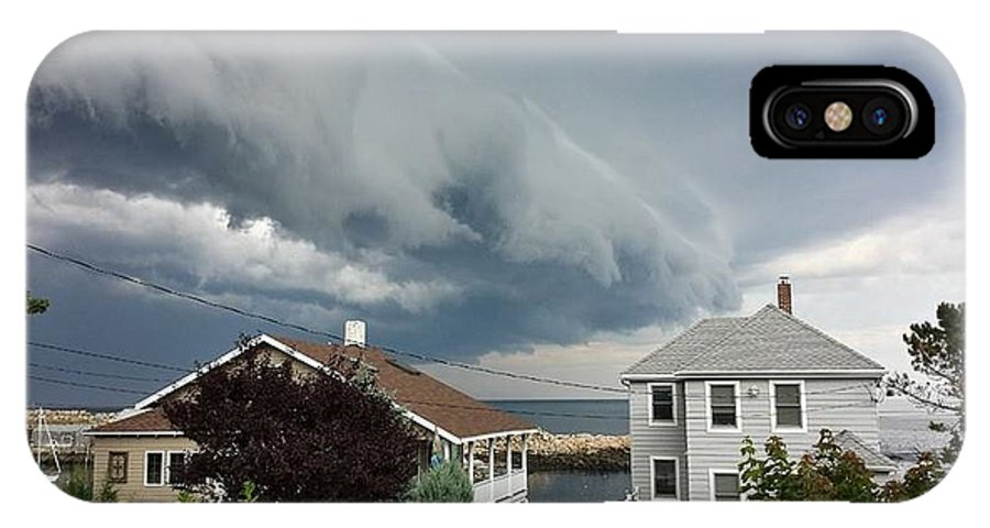 Dark Grey Storm Clouds IPhone X Case featuring the photograph Storm Cloud Over Pigeon Cove by Harriet Harding
