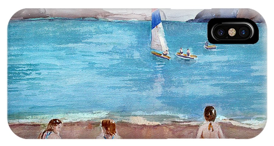Ocean IPhone X Case featuring the painting Storm Clouds Coming by Arline Wagner