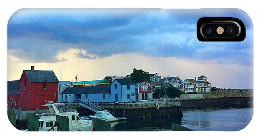 Light Grey And Dark Grey Clouds IPhone X Case featuring the photograph Storm Clouds Over Rockport Harbor by Harriet Harding