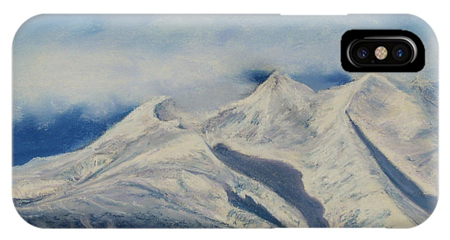 Mountain IPhone X / XS Case featuring the painting Storm Clouds Over Winter Mountain Blues by Stanza Widen