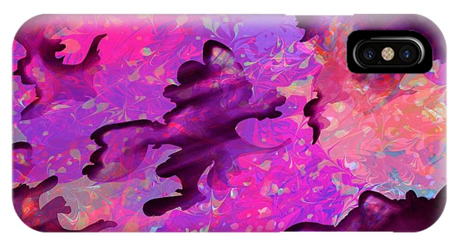 Abstract IPhone X Case featuring the digital art Storm Clouds by Rachel Christine Nowicki