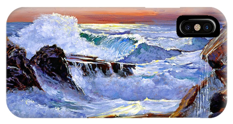 Waves IPhone X Case featuring the painting Storm On The Irish Coast by David Lloyd Glover