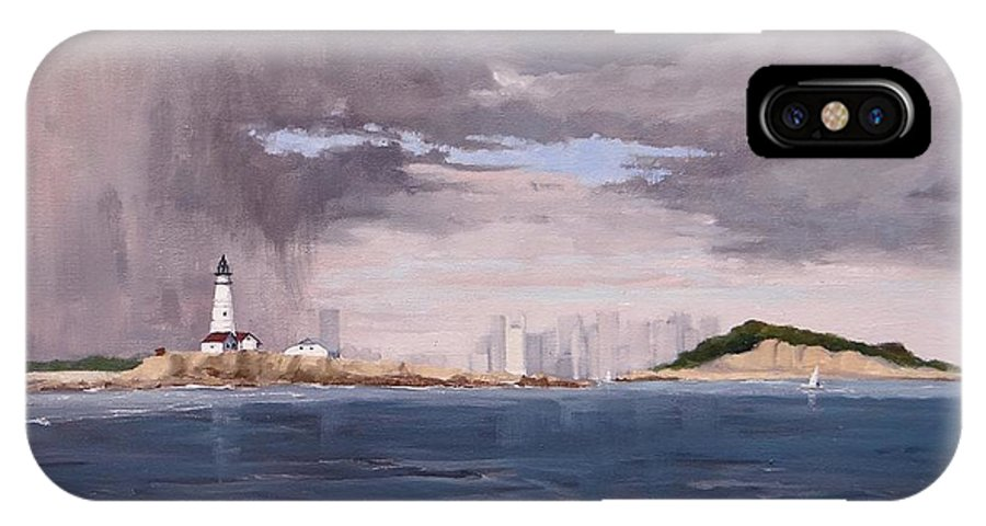 Laura Lee Zanghetti IPhone X Case featuring the painting Storm Over Boston by Laura Lee Zanghetti