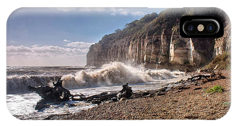Storm IPhone X Case featuring the photograph Storm Tide Cliffs End by Dave Godden