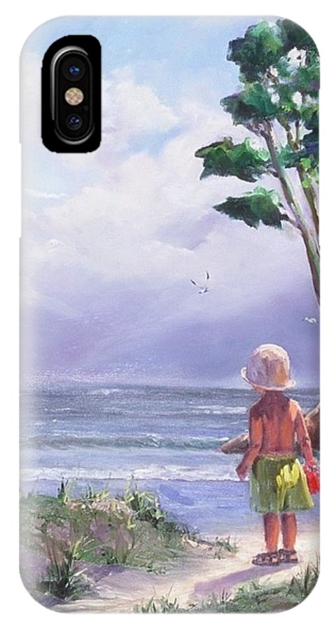 Seascape IPhone X Case featuring the painting Storm Watching by Laura Lee Zanghetti