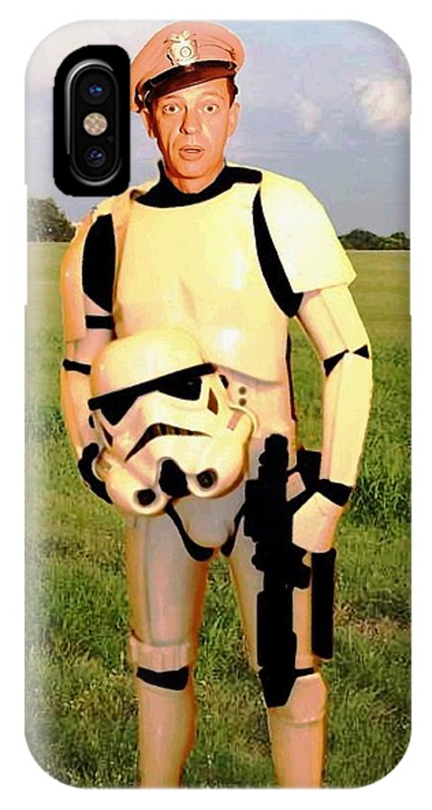 Star Wars IPhone X Case featuring the painting Stormtrooper Barney Fife by Paul Van Scott