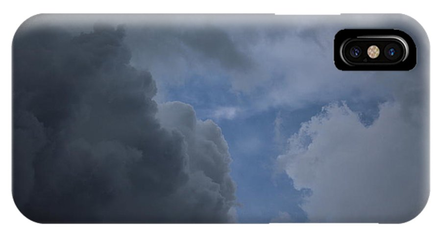 Clouds IPhone X Case featuring the photograph Stormy Day by Ellen Flayderman