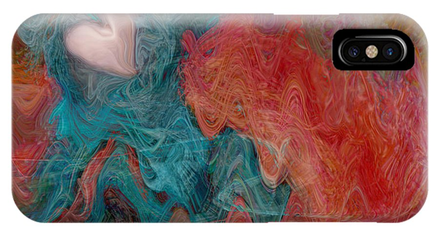 Hearts IPhone X Case featuring the digital art Stormy Love by Linda Sannuti