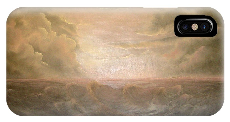 Pink And Gray Tones IPhone X Case featuring the painting Stormy Night by Sandy Dusek