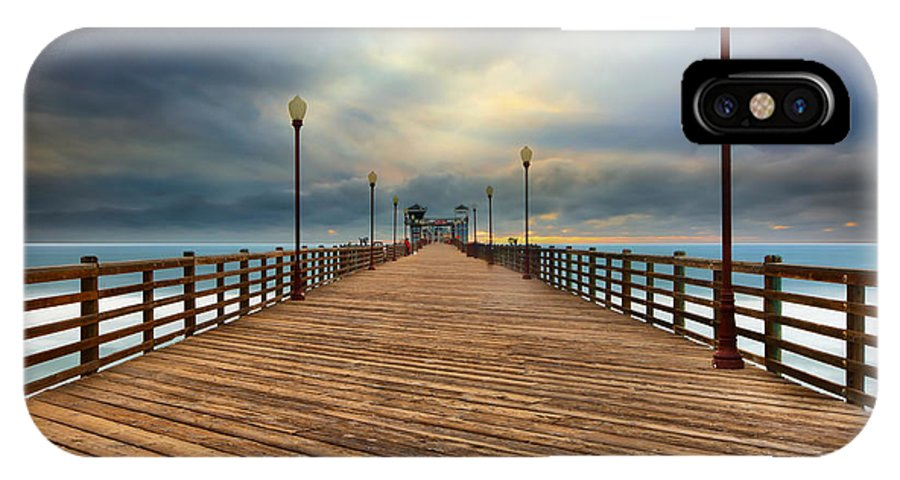 Larry Marshall IPhone X Case featuring the photograph Stormy Oceanside Sunset by Larry Marshall