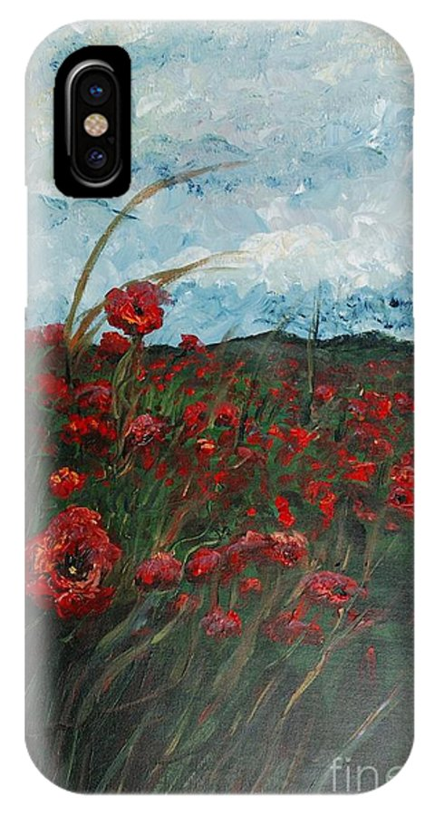 Poppies IPhone X Case featuring the painting Stormy Poppies by Nadine Rippelmeyer