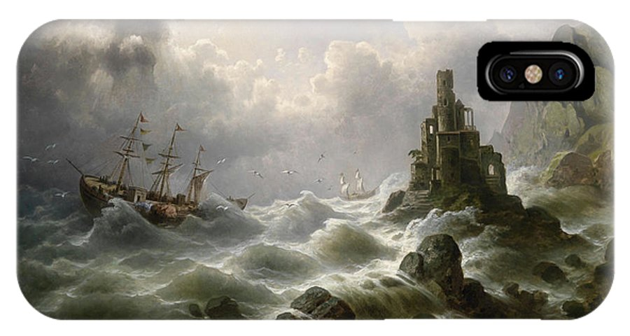 J. Claiton IPhone X Case featuring the painting Stormy Sea With Lighthouse On The Coast by Celestial Images