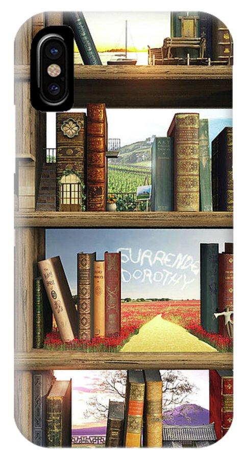 Books IPhone X Case featuring the digital art Storyworld by Cynthia Decker