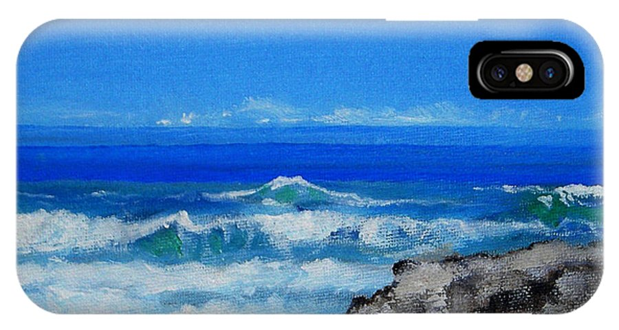 Island IPhone X Case featuring the painting Stradbroke Island by Gloria Dietz-Kiebron