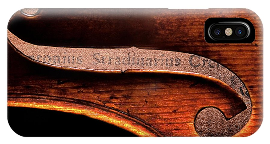 Strad IPhone X Case featuring the photograph Stradivarius Label by Endre Balogh