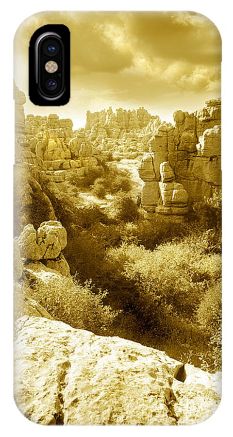 Rock IPhone X Case featuring the photograph Strange Rock Formations At El Torcal Near Antequera Spain by Mal Bray