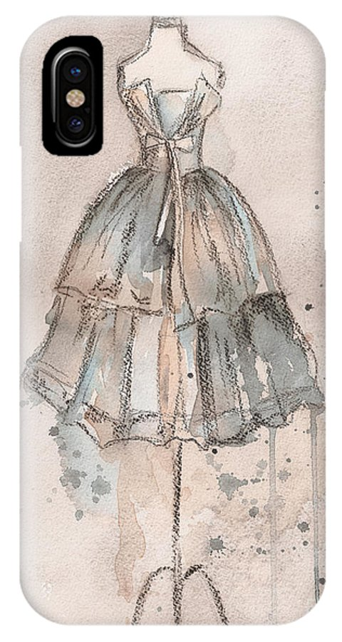 Vintage Dress IPhone X Case featuring the painting Strapless Champagne Dress by Lauren Maurer