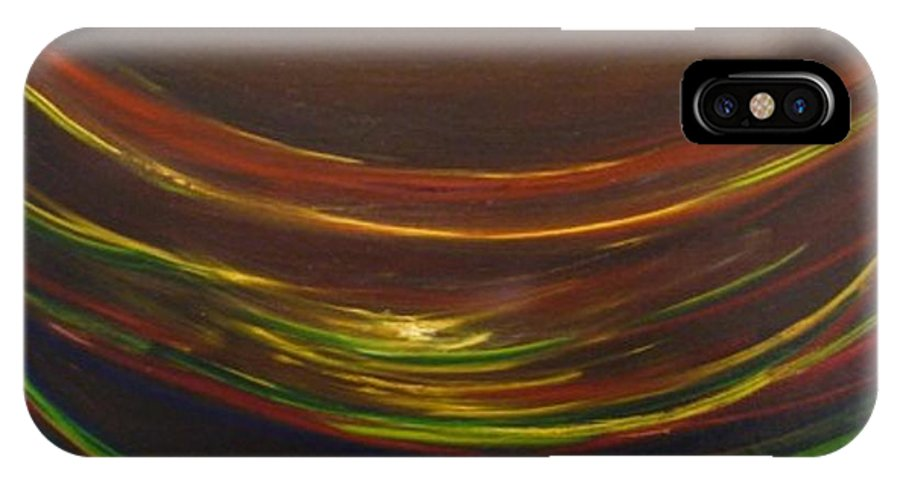 Rainbow Red Yellow Obama IPhone X Case featuring the painting Strata Surf by Jack Diamond