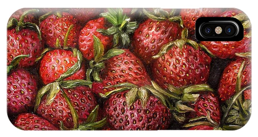 Garden IPhone X Case featuring the painting Strawberries -2 contemporary oil painting by Natalja Picugina