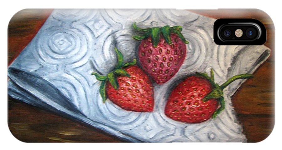 Strawberries IPhone X Case featuring the painting Strawberries-3 Contemporary Oil Painting by Natalja Picugina