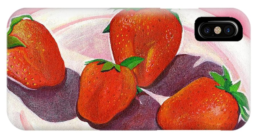 Food IPhone X Case featuring the painting Strawberries And Cream by Helena Tiainen