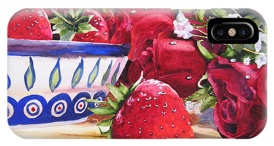Strawberries IPhone X Case featuring the painting Strawberries And Roses by Karen Stark
