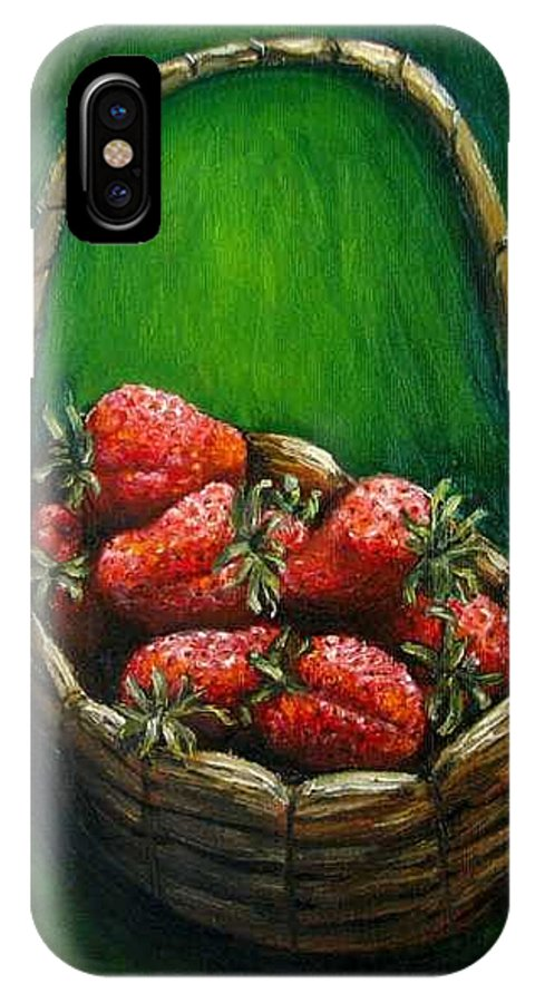 Strawberries IPhone X Case featuring the painting Strawberries Contemporary Oil Painting by Natalja Picugina