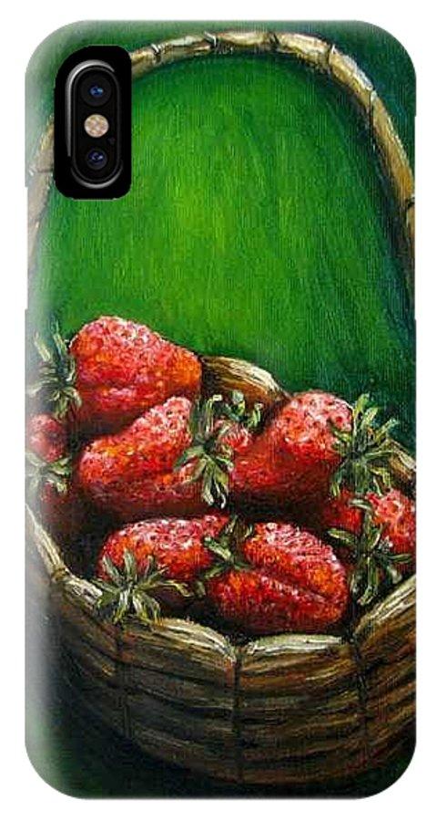 Strawberries IPhone X Case featuring the painting Strawberries contemporary oil painting by Natalja Picugina