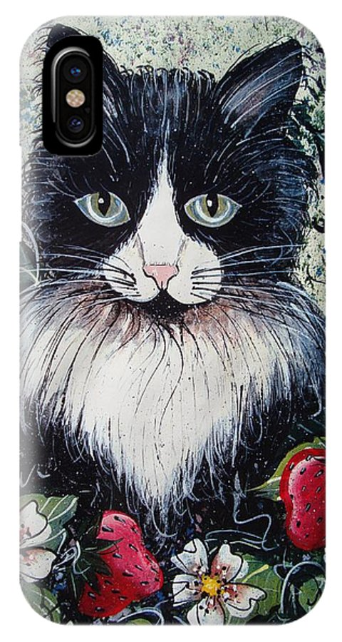 Cat IPhone X Case featuring the painting Strawberry Lover Cat by Natalie Holland