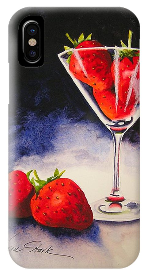 Strawberry IPhone X Case featuring the painting Strawberrytini by Karen Stark
