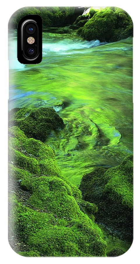 Green IPhone X Case featuring the photograph Stream Above Whitehorse Falls by Teri Schuster