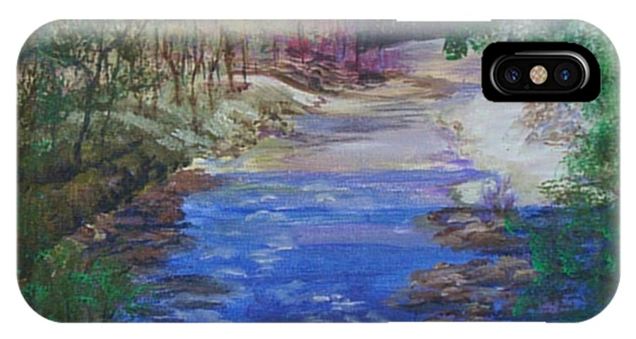 River IPhone X Case featuring the painting Stream At Yosemite by Quwatha Valentine
