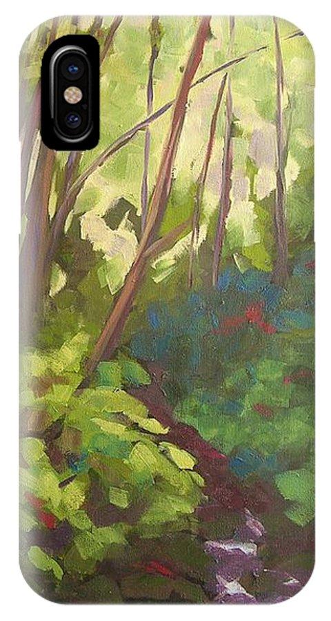 Hawaiian IPhone X Case featuring the painting Stream Near Akaka Falls by Mary McInnis