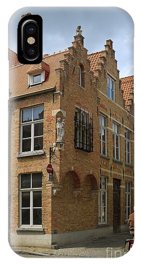 Street IPhone X Case featuring the photograph Street Corner In Bruges Belgium by Louise Heusinkveld