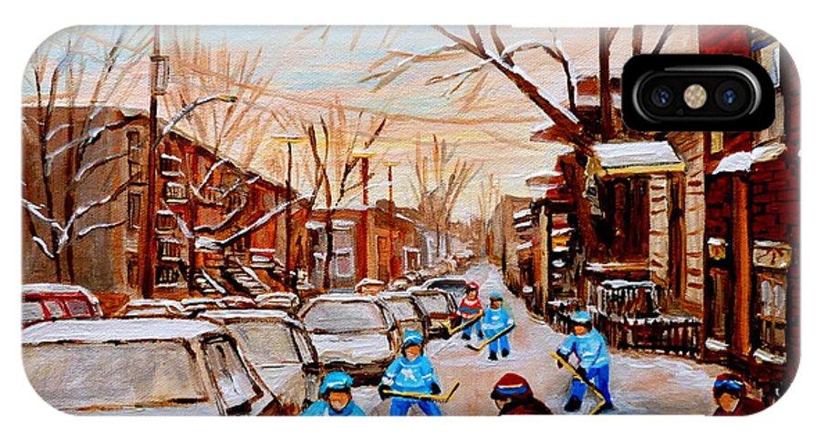 Streethockey IPhone X Case featuring the painting Street Hockey On Jeanne Mance by Carole Spandau