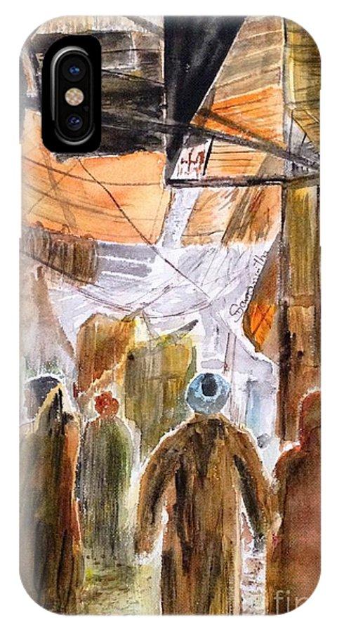 India Indian Middle East Souq Street Market Abaya Gayabaya Turban Crowded Narrow Streetscape Dingy Dark Busy Samanvitha Rao Watercolor Painting IPhone X Case featuring the painting Street Market by Samanvitha Rao