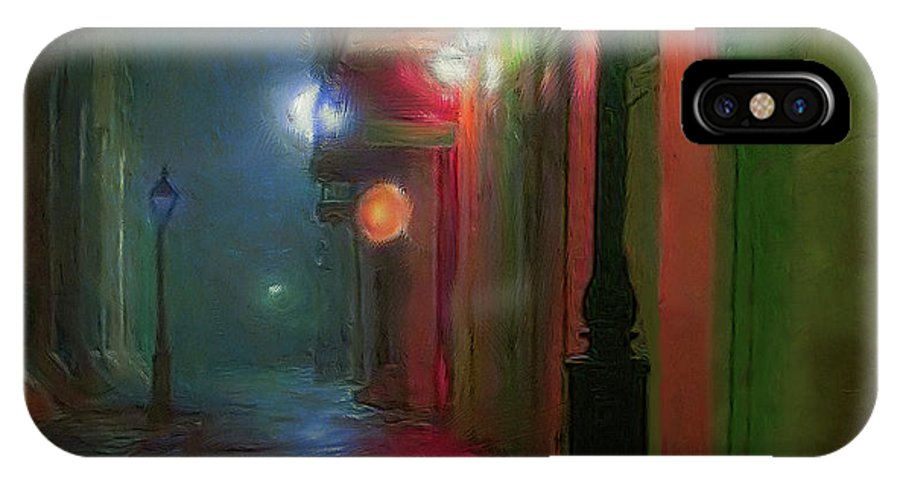 Painting IPhone X Case featuring the painting Street Scene by Ted Guhl
