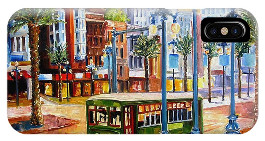 New Orleans Paintings IPhone X Case featuring the painting Streetcar On Canal Street by Diane Millsap