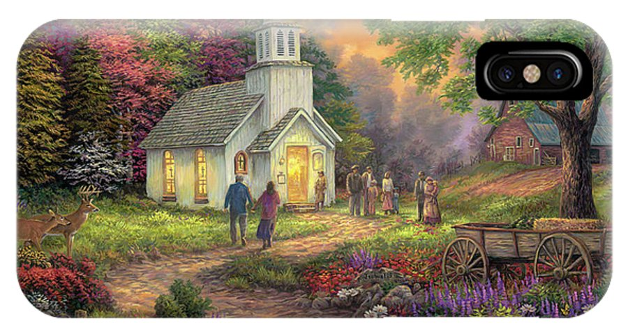 Church Art IPhone X Case featuring the painting Strength Along The Journey by Chuck Pinson