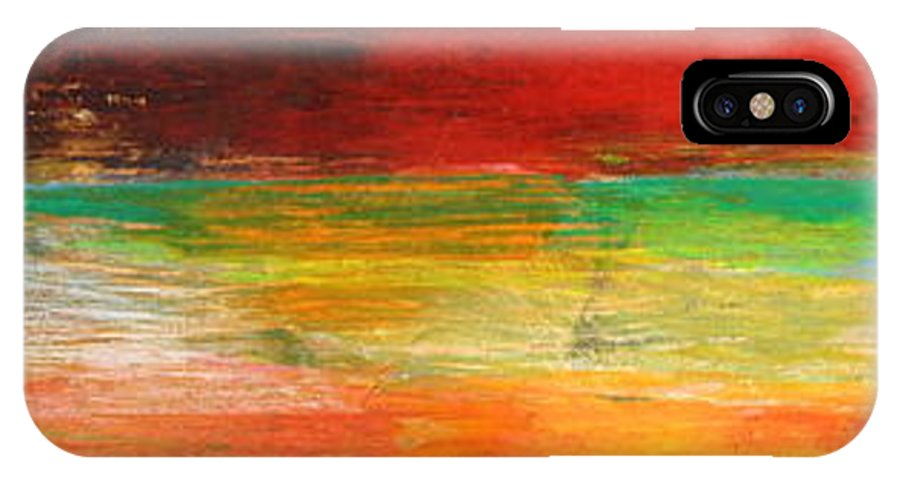 Abstract IPhone X Case featuring the painting Stretching Land by Habib Ayat