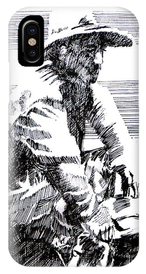 1850's Old West IPhone X Case featuring the drawing Striking It Rich by Seth Weaver